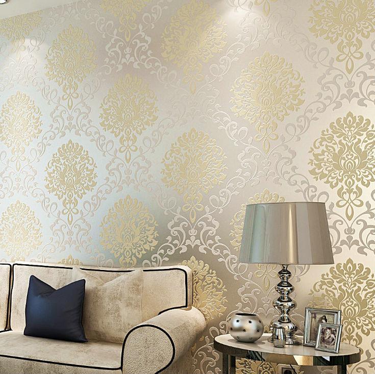 Aliexpresscom Buy white yellow glitter wallpaper for decorative 735x733