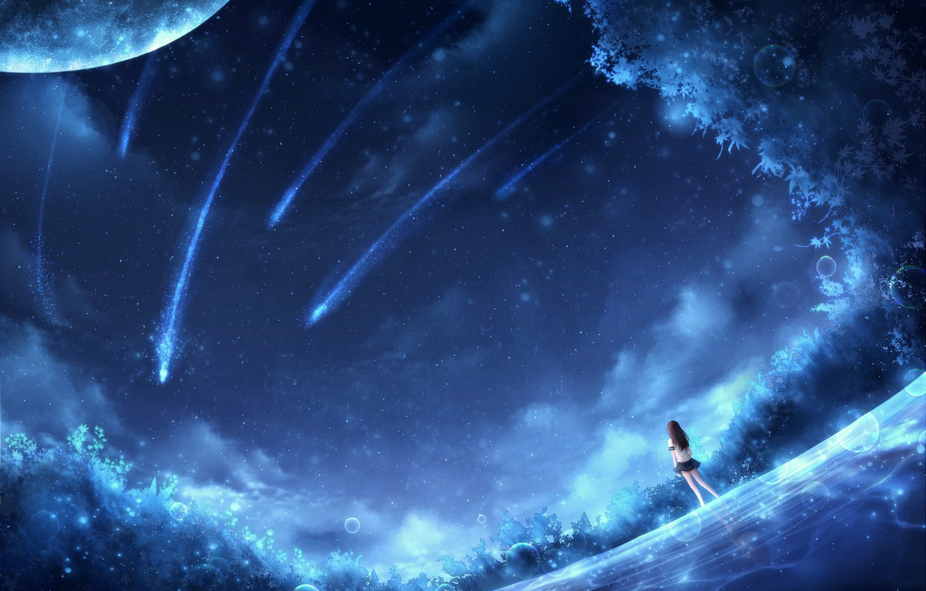 Wallpaper girl space fiction OR falling stars images for 1332x850