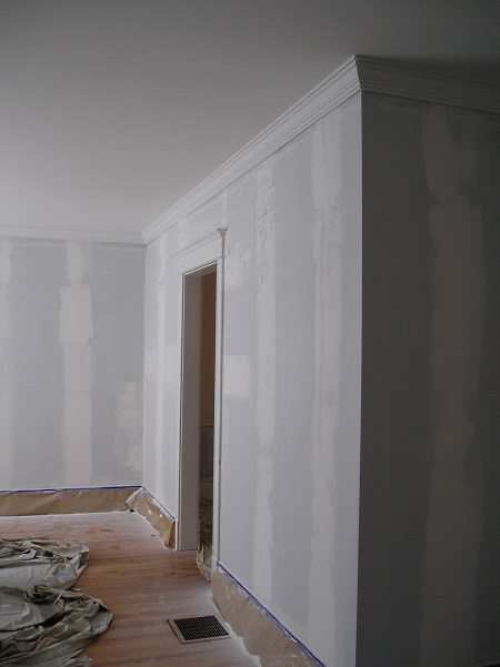 Walls patched and ready to paint after removing wallpaper 450x601