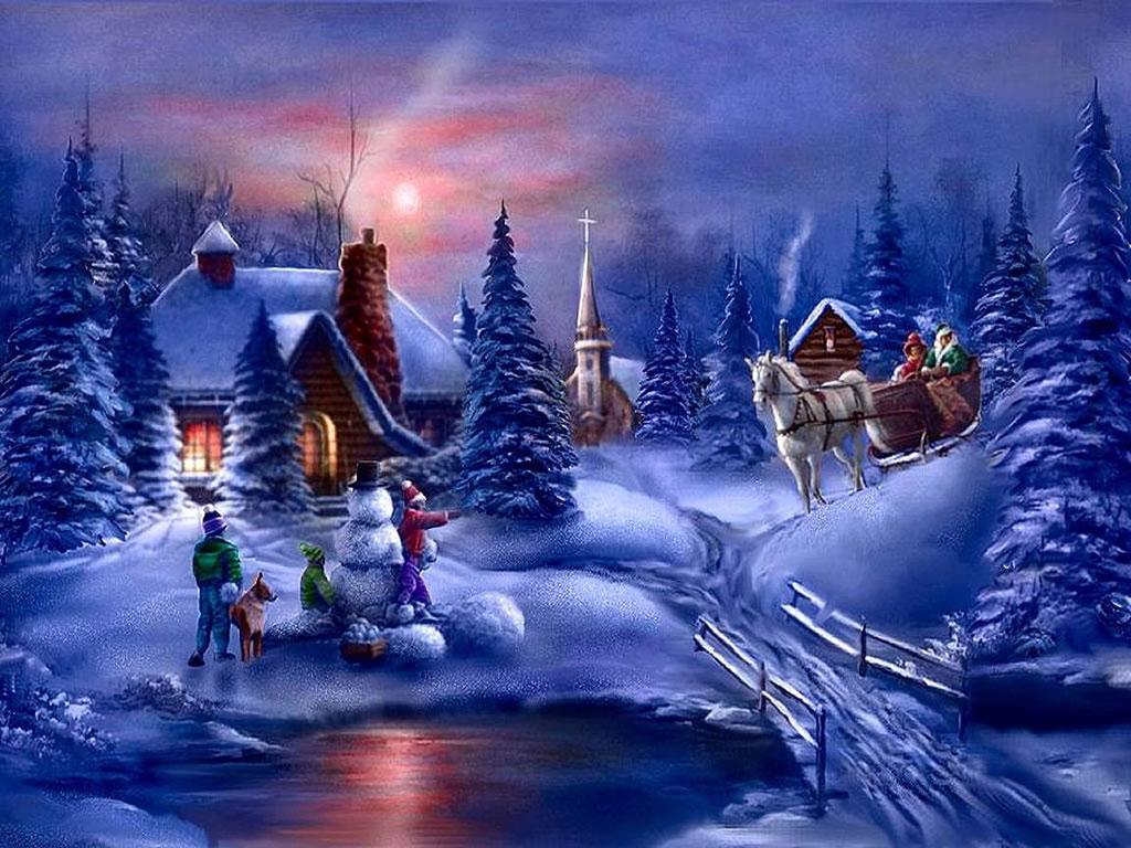 Winter Fun   Christmas Winter Scenes Wallpaper Image 1024x768