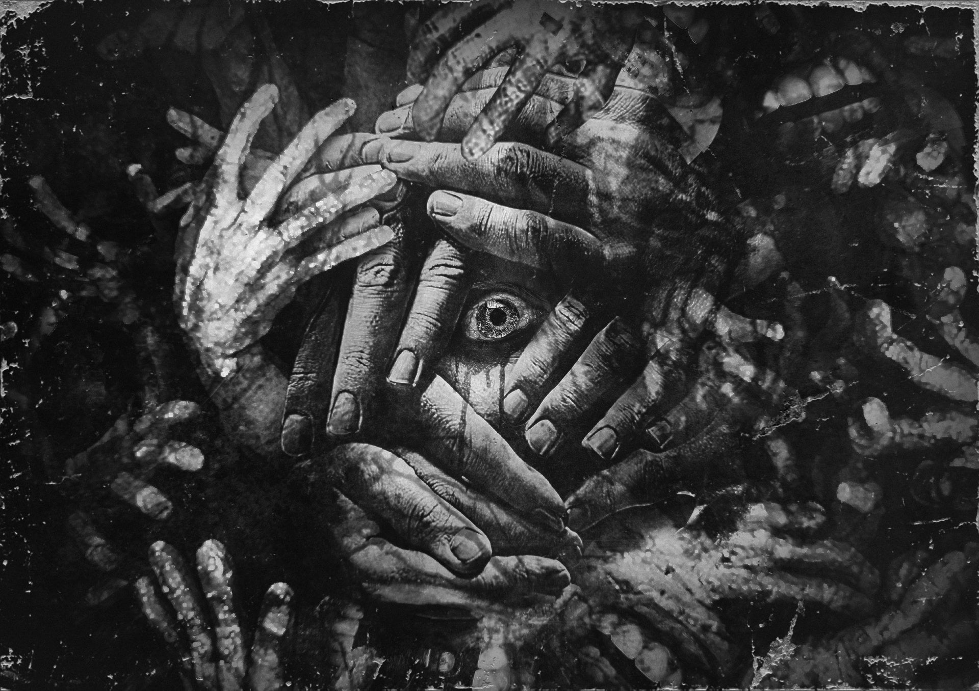Hands and eyes painting The Evil Within 2 horror eyes hands HD 1920x1357