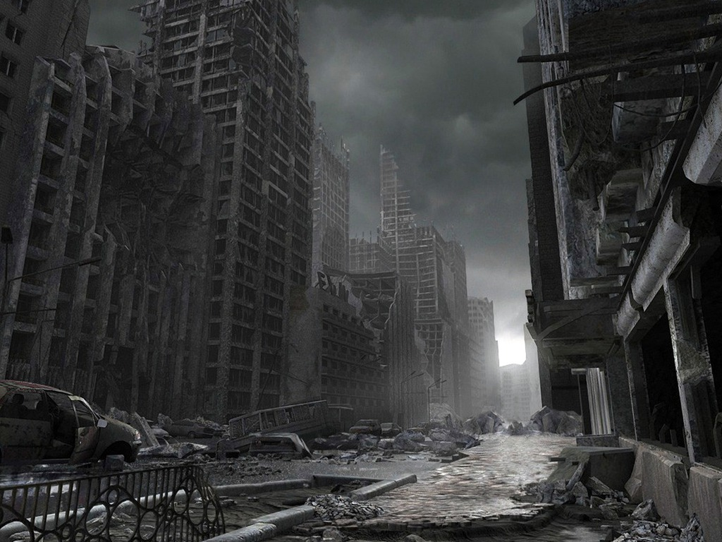 destroyed the city Wallpaper kj5hr 1024x768