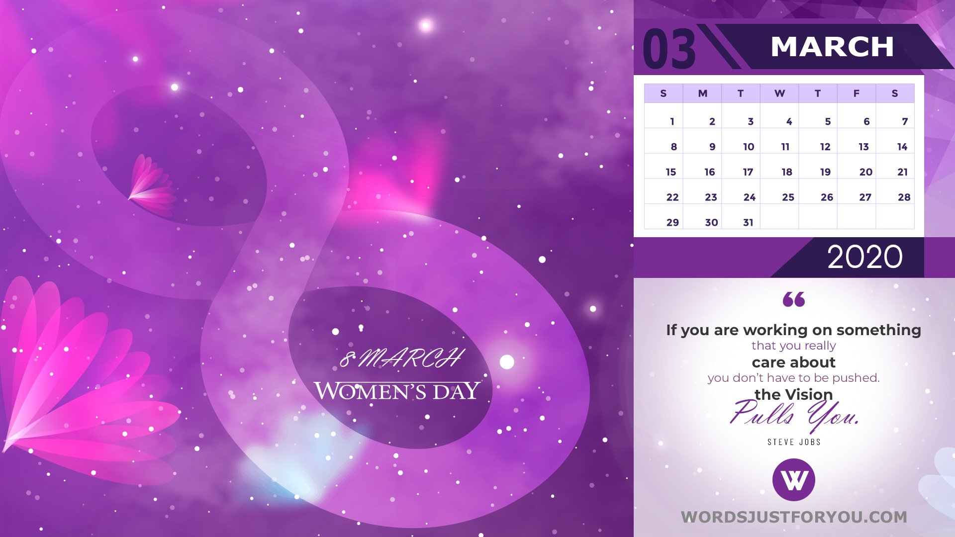 March 2020 Calendar Wallpaper Womens Day 5929 Words Just for 1920x1080