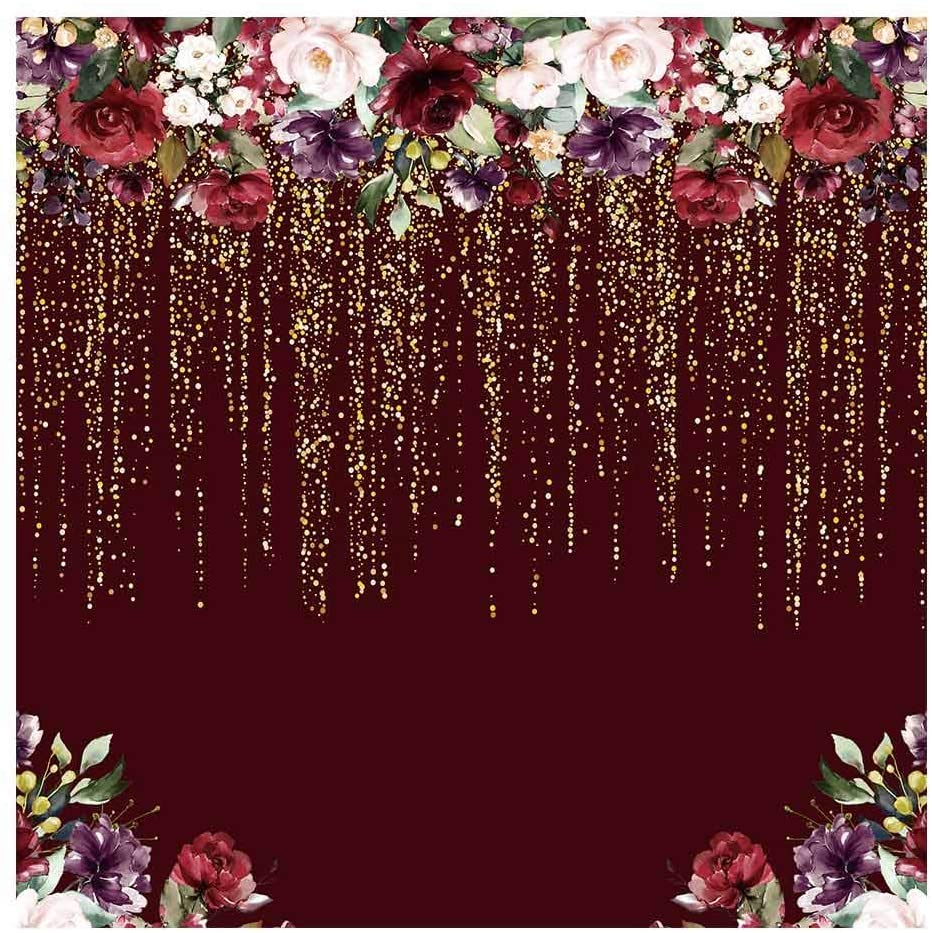 Amazoncom Funnytree 6x6ft Burgundy Red Flowers Backdrop Golden 932x933