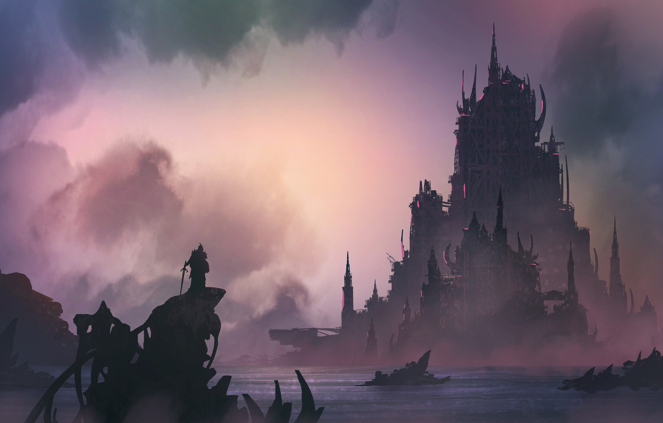 Wallpaper Figure Castle Silhouette Warrior Landscape Fortress 1332x850