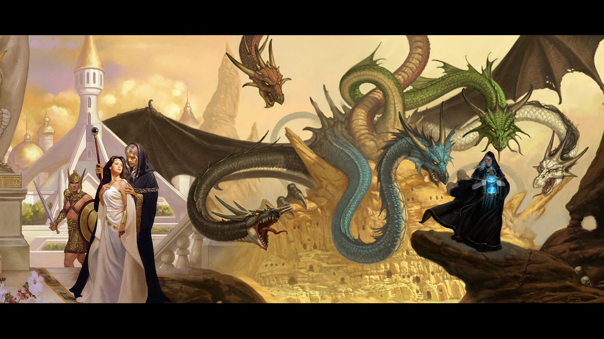 Raistlin and Crysania by cryptic conviction 1920x1080