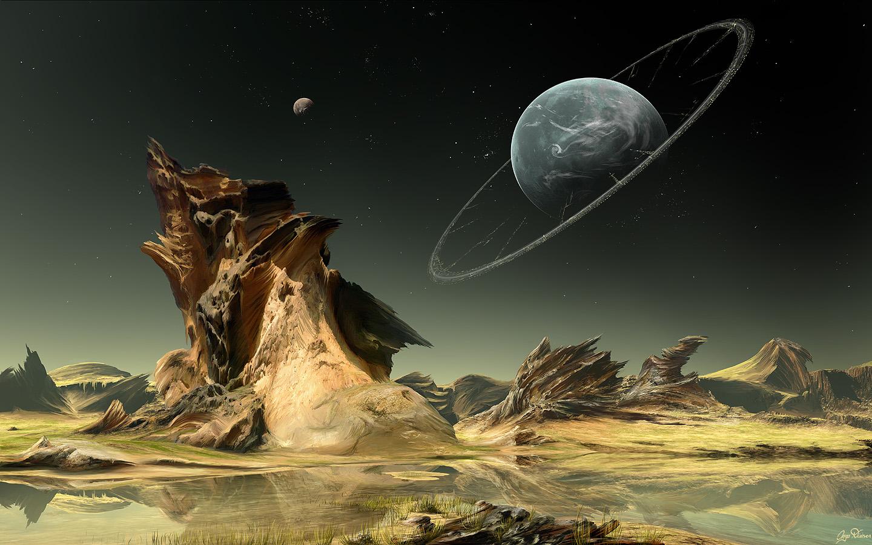 fantasy landscapes planets illustrations science fiction artwork   HD 1440x900