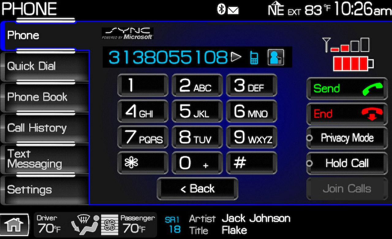 Ford Sync mobile phone integration screen night mode 1280x782