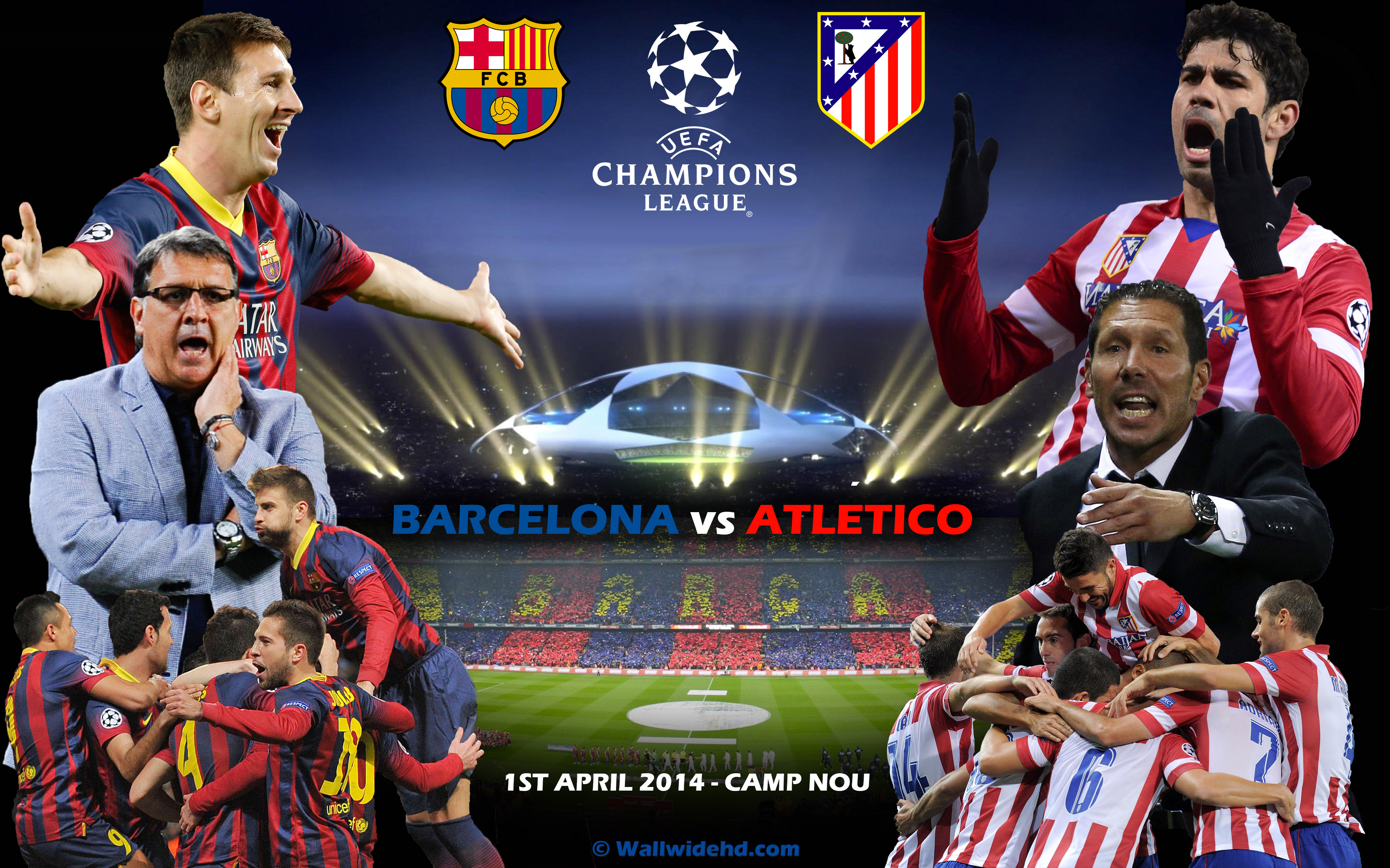 FC Barcelona vs Atletico de Madrid 2014 Champions League Wallpaper 3840x2400