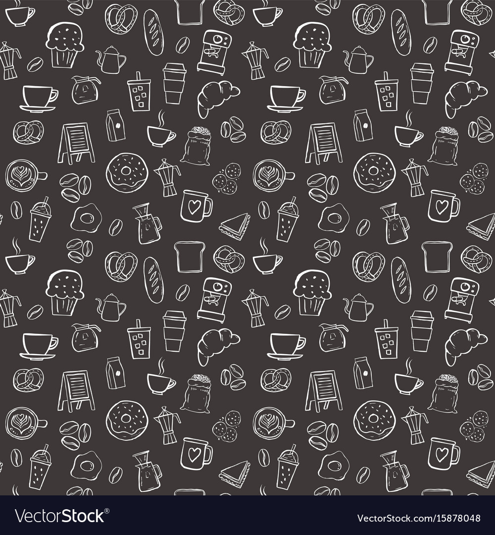 Coffee shop seamless pattern background set Vector Image 1000x1080