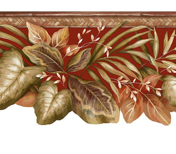 Red Tropical Leaves Wallpaper Border 600x525