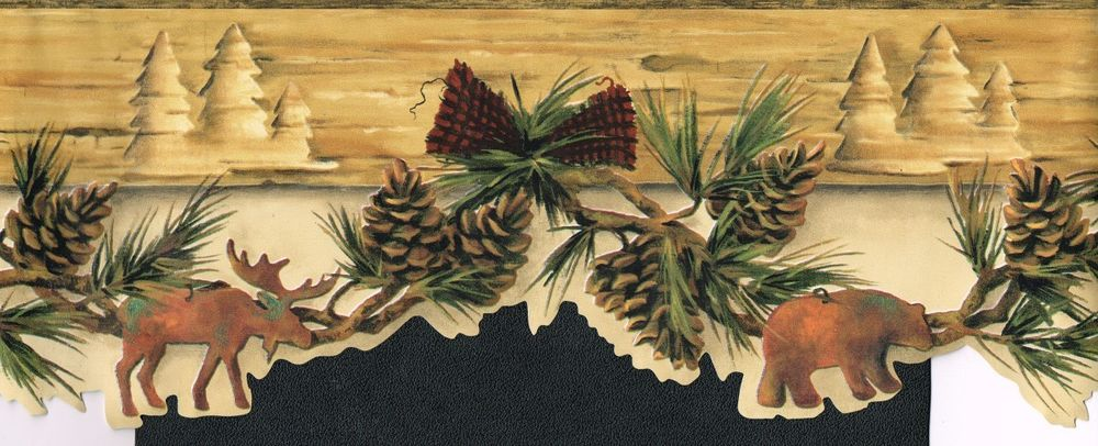 Wallpaper Border Wall Country Moose Bear Amp Pine Cones Needles 6 1 2 1000x406