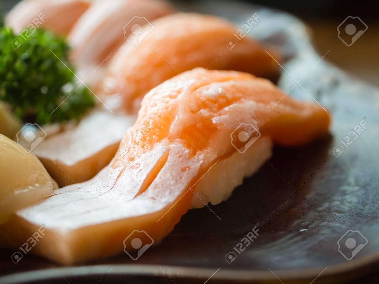 Toro Salmon Or Fatty Salmon Sushi Background Concept Stock Photo 1300x975