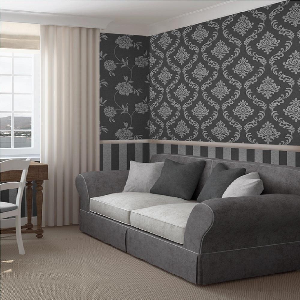 Hanging art on wallpaper wallpapersafari for Wallpaper of home design