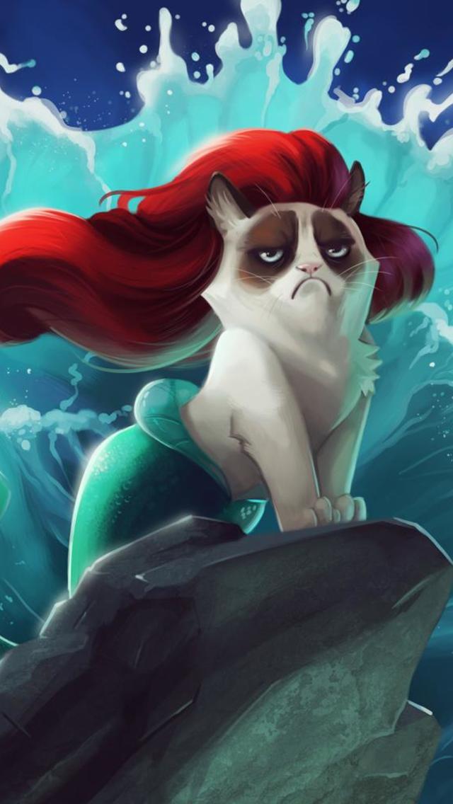 Grumpy Cat Little Mermaid Wallpaper for iPhone 5 640x1136