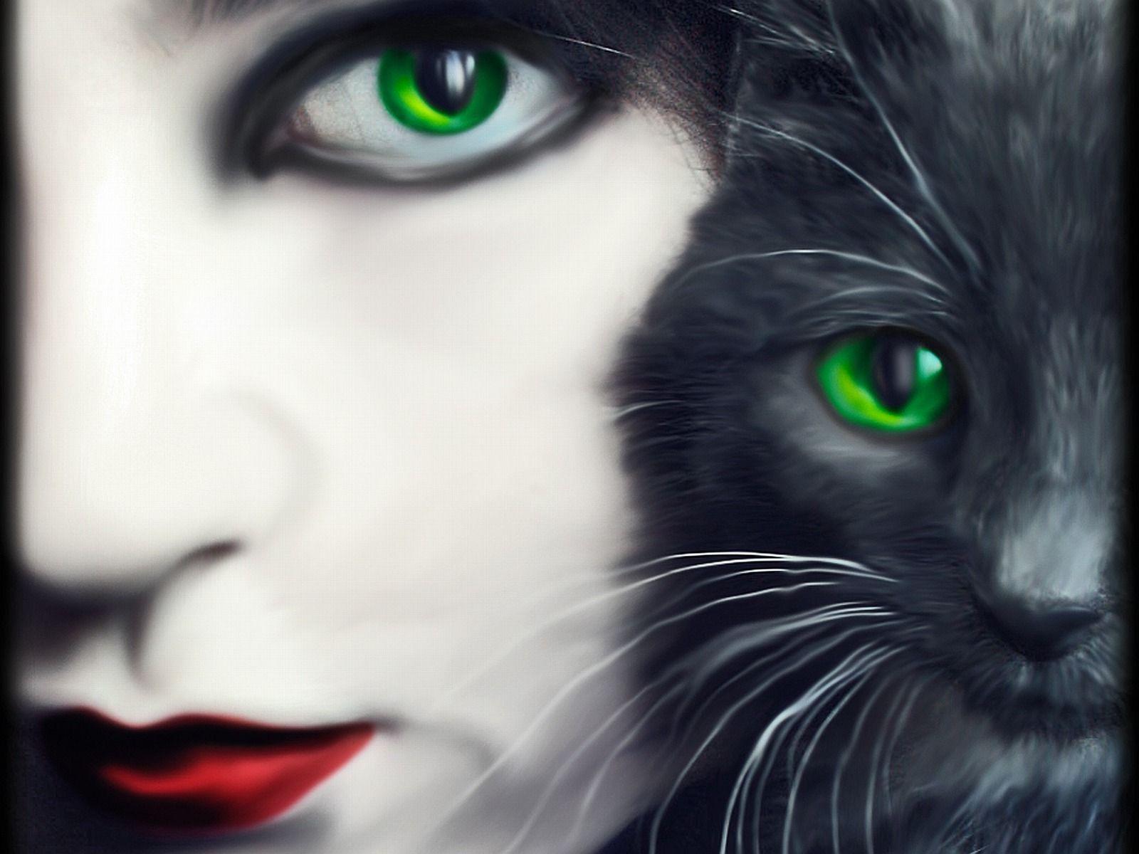 Green Eyes 3D abstract art cat CG eyes fantasy feline female 1600x1200