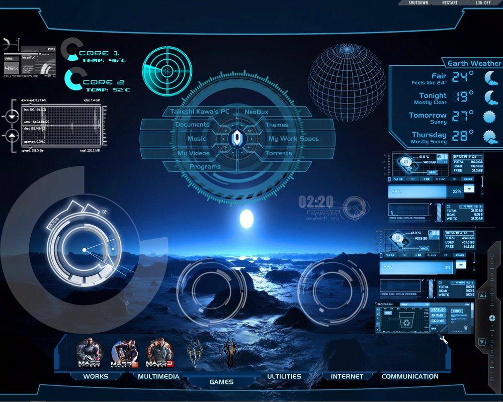 Hi Tech Desktop Rainmeter for all windows by takeshikawa 1000x800