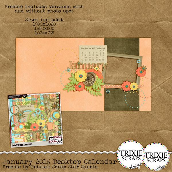January 2016 Desktop Calendar   Trixie Scraps Designs 600x600