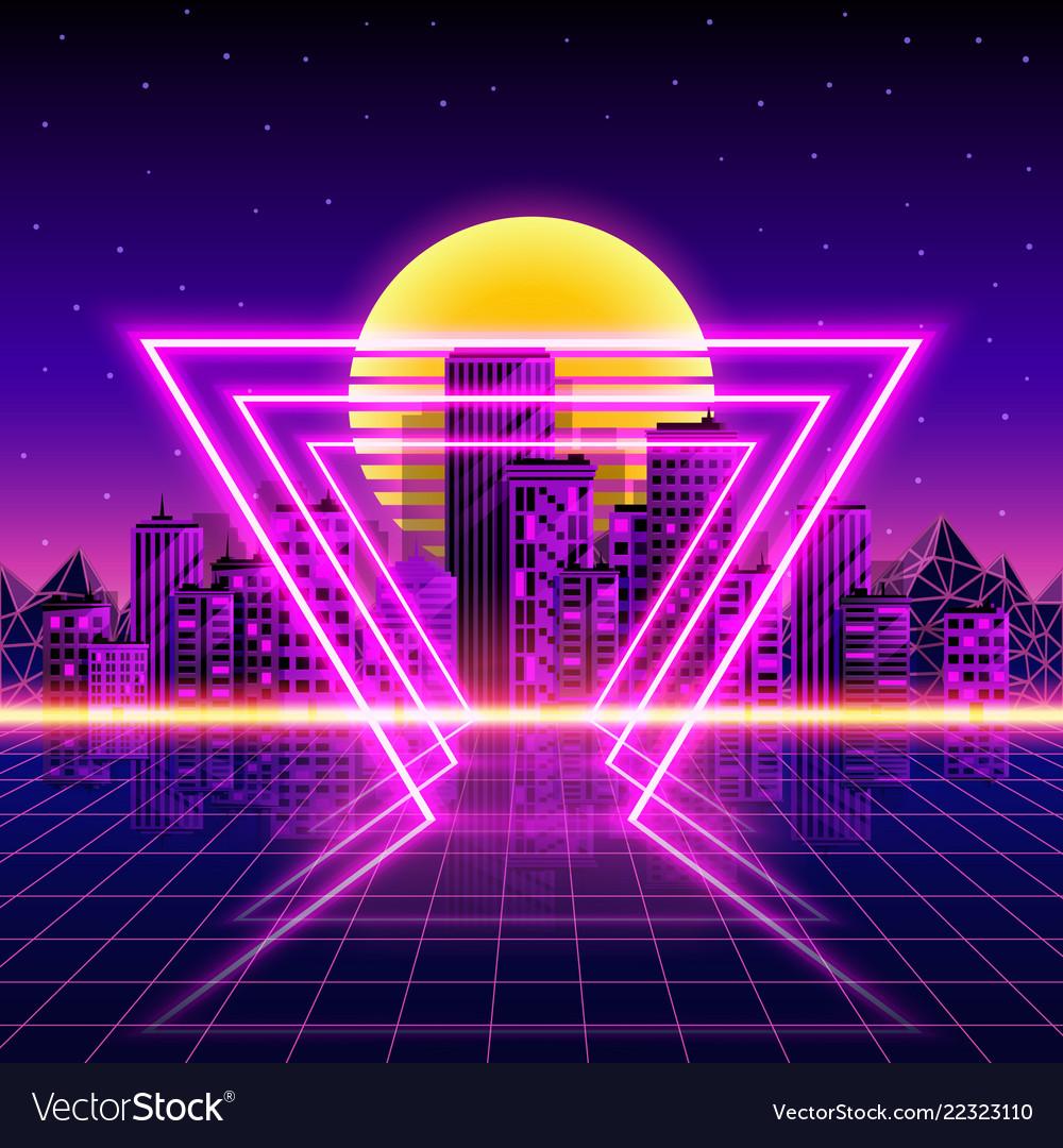 Retro neon city background neon style 80s Vector Image 1000x1080