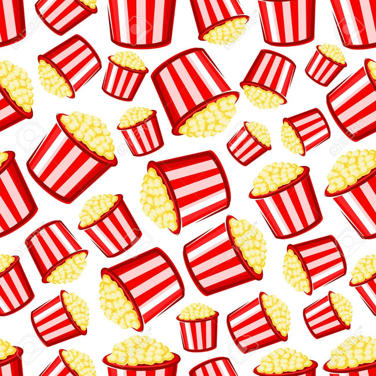 Takeaway Popcorn Background With Cartoon Seamless Pattern Of 1300x1300