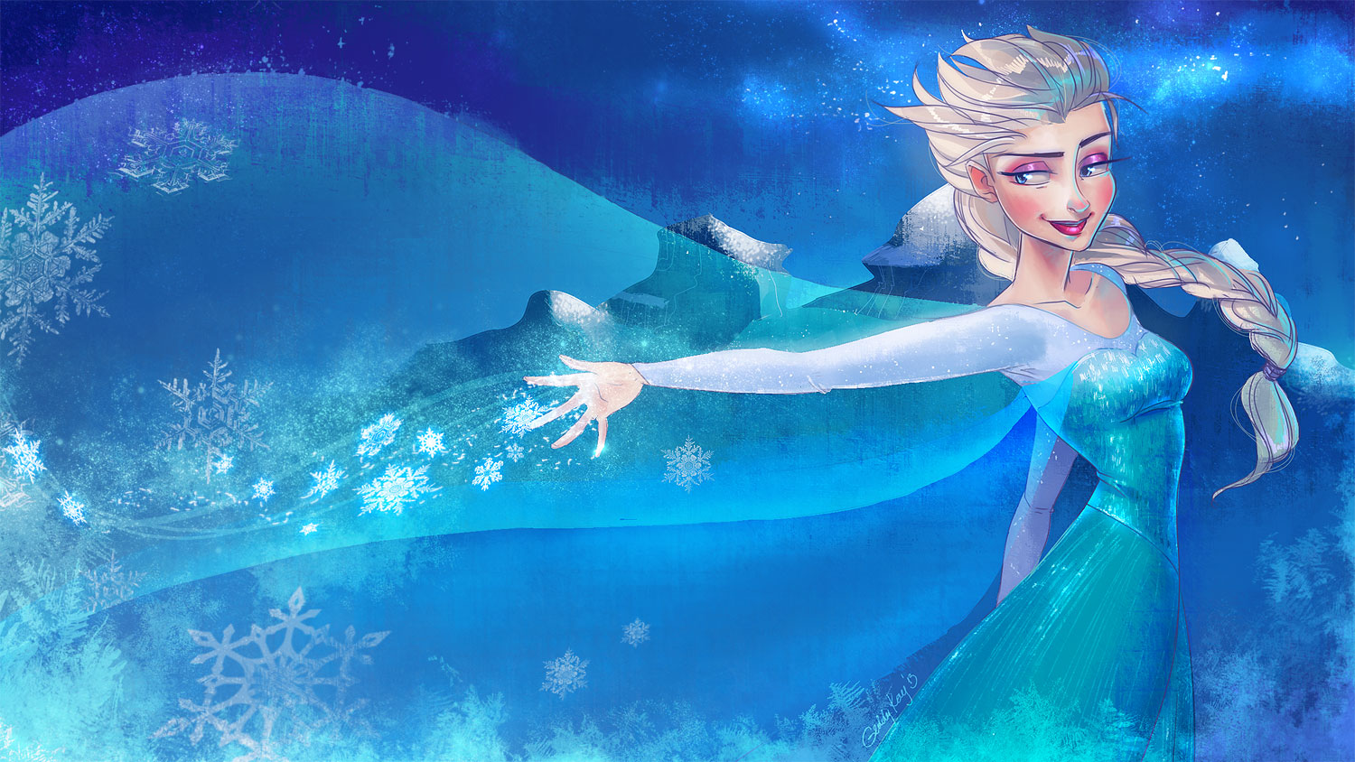 Frozen Elsa Anna Digital Fan Art Wallpapers 1500x844