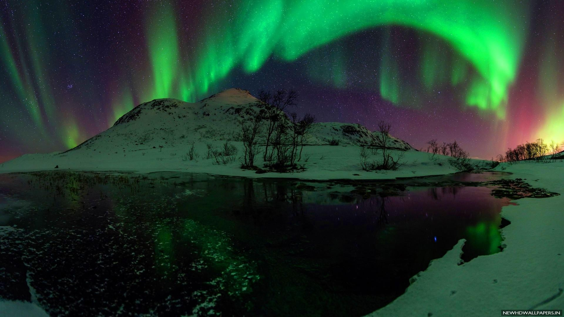 Aurora Borealis Green Stars Night Pics   New HD Wallpapers 1920x1080