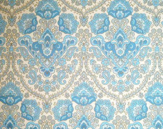 Victorian Vintage Wallpaper   Blue Fancy Retro Style 1960s 1970s 553x436