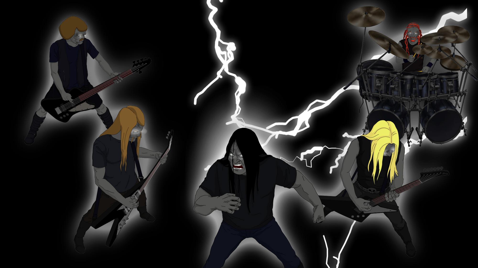 Dethklok heavy metal music cartoons hard rock band groups 2000x1125