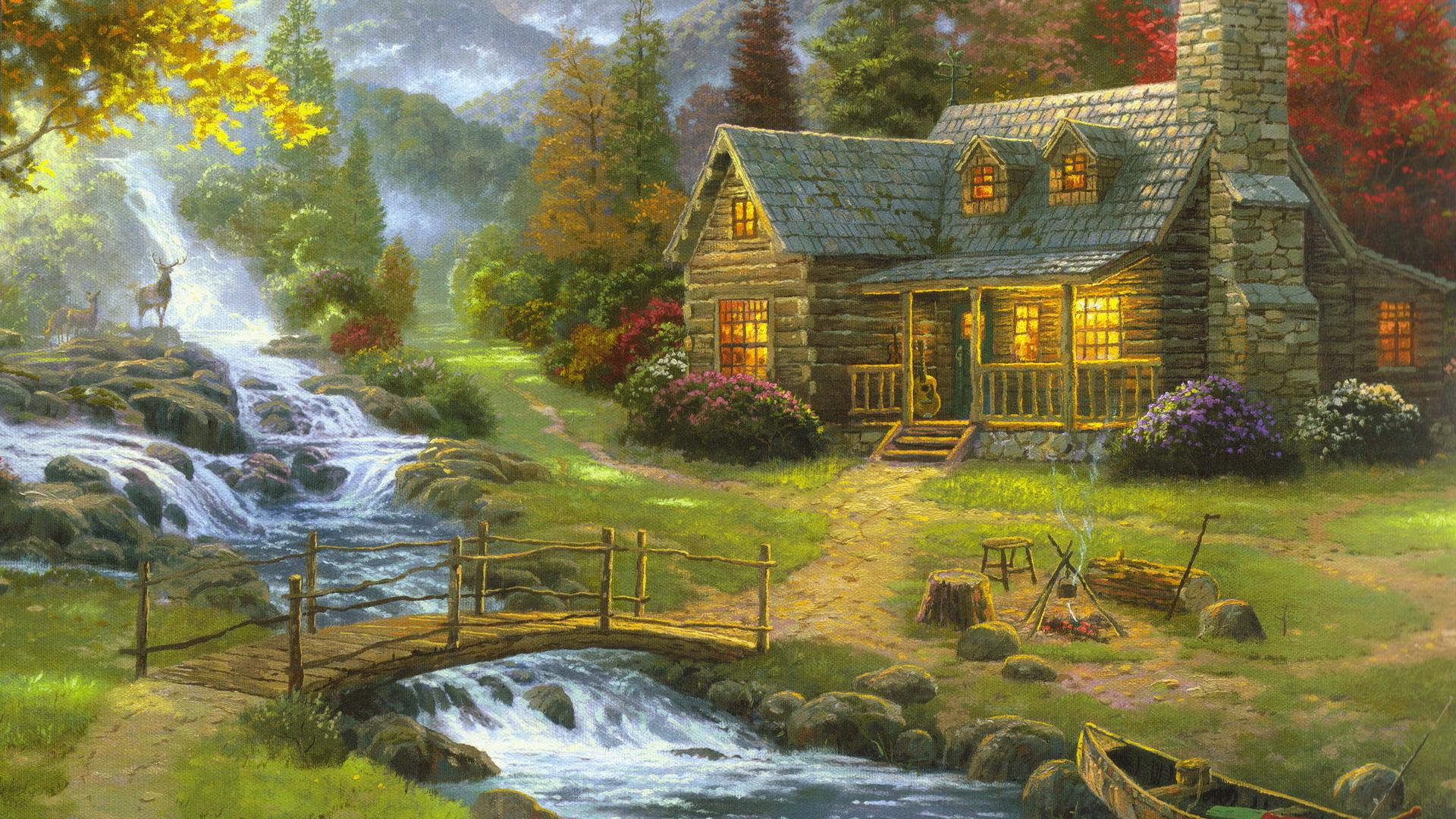 Wallpaper forest house guitar mountain river wooden bridge fire 1920x1080
