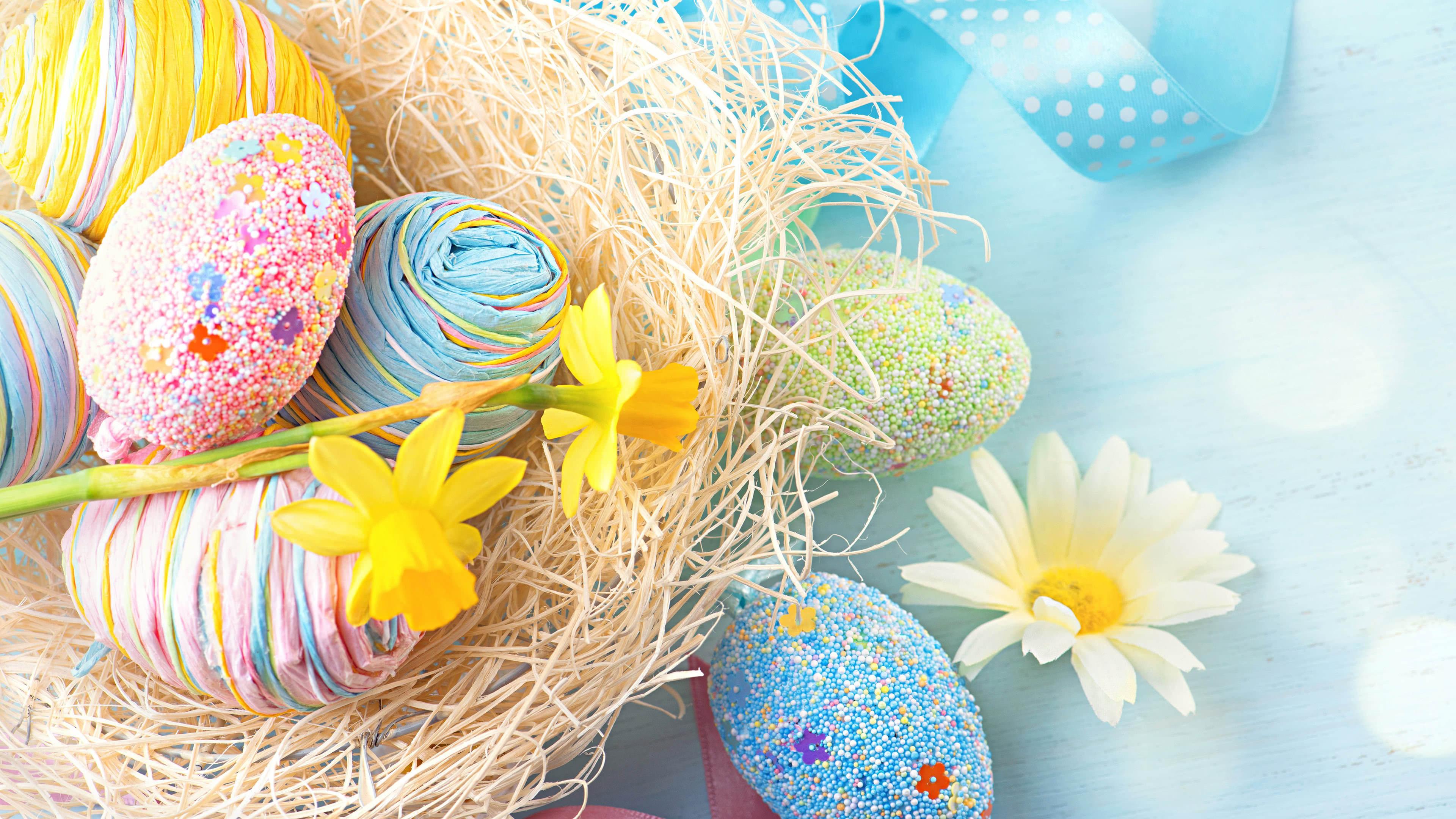 Easter Eggs And Flowers UHD 4K Wallpaper Pixelz 3840x2160