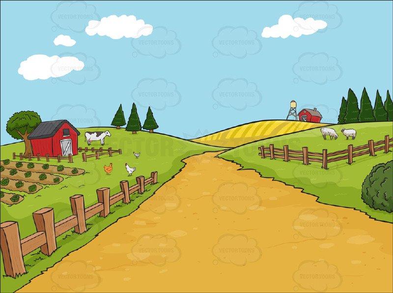 Country Farm Background Cartoon Clipart   Vector Toons 800x596