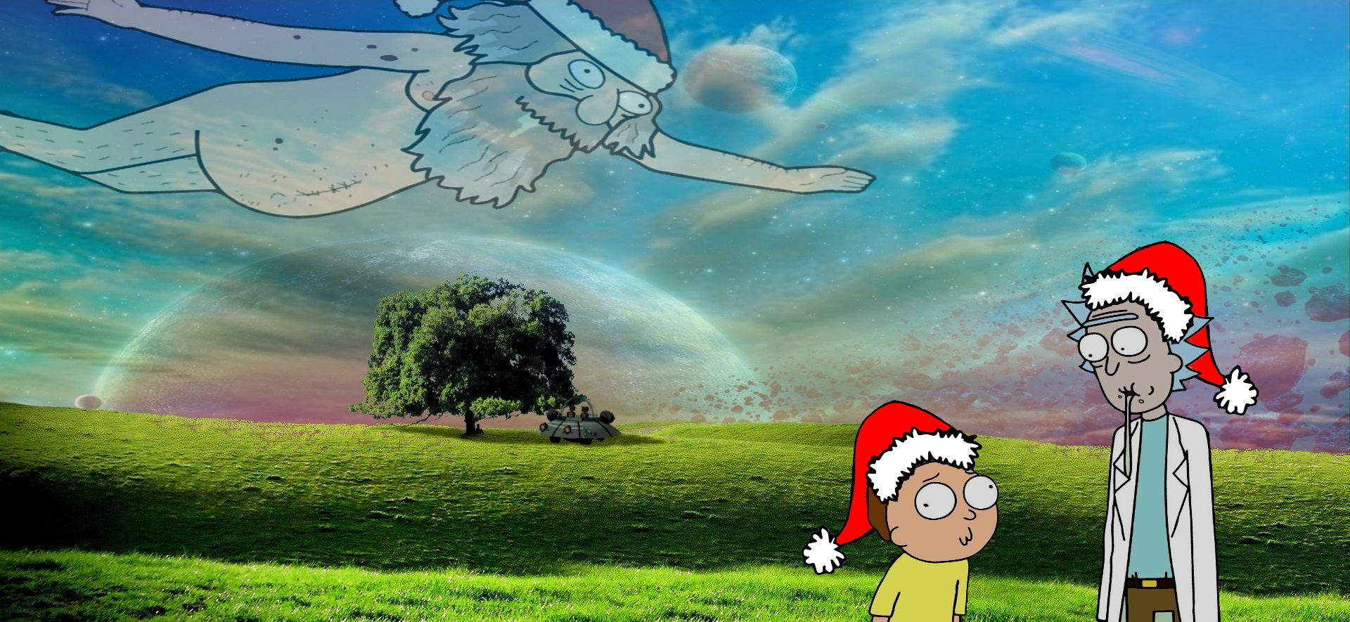 Looks like were on a buuurrp Christmas wallpaper Morty 1920x885