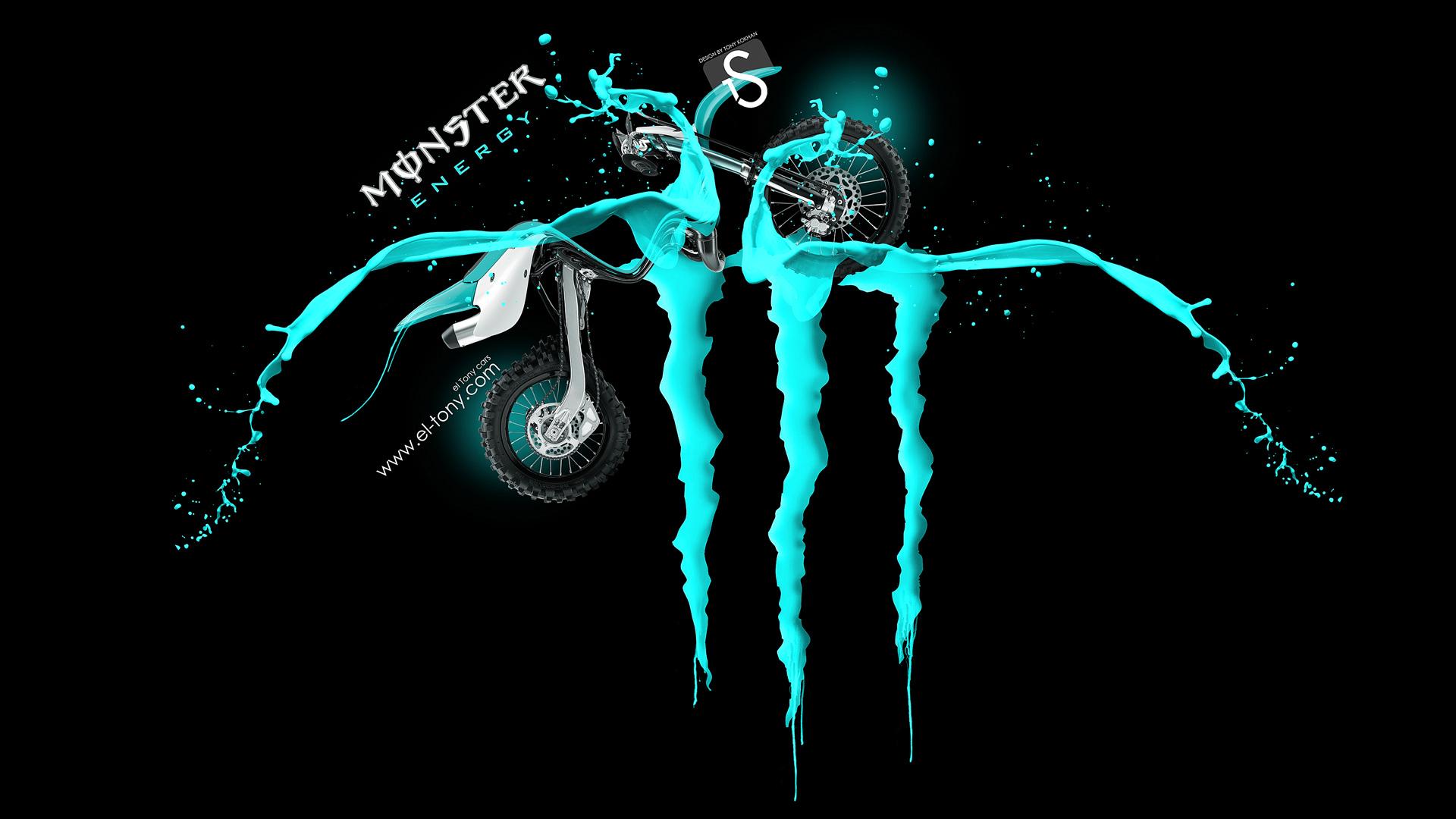 Monster Energy Logo Azure Green Fantasy Kawasaki Motocross 2013 design 1920x1080
