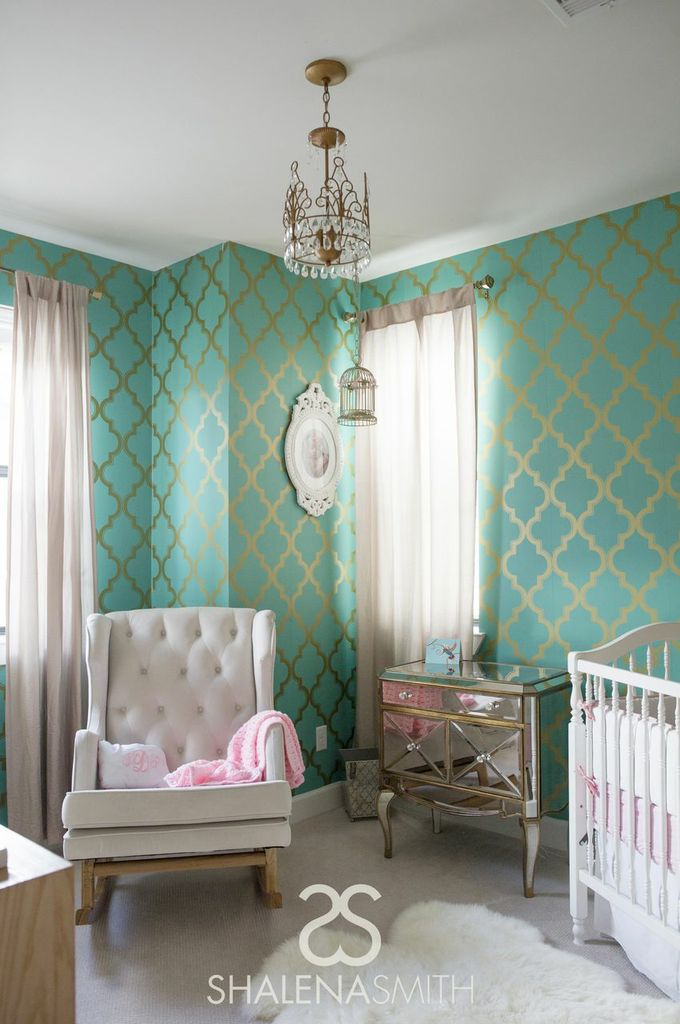 Hollywood Glam Nursery with Turquoise and Gold Wallpaper   Project 680x1024