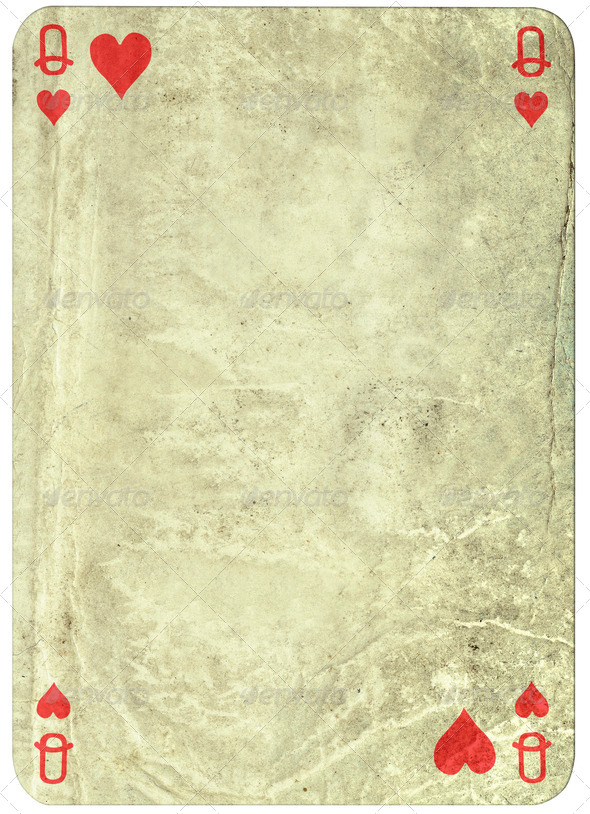 vintage simple background playing card   queen of hearts   Stock 590x814