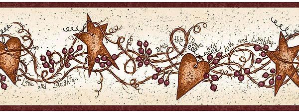 Free Download Country Hearts And Stars Kitchen Decor Hearts And Stars Wallpaper 600x225 For Your Desktop Mobile Tablet Explore 39 Country Star Wallpaper Star Wallpaper Border Black Barn Star