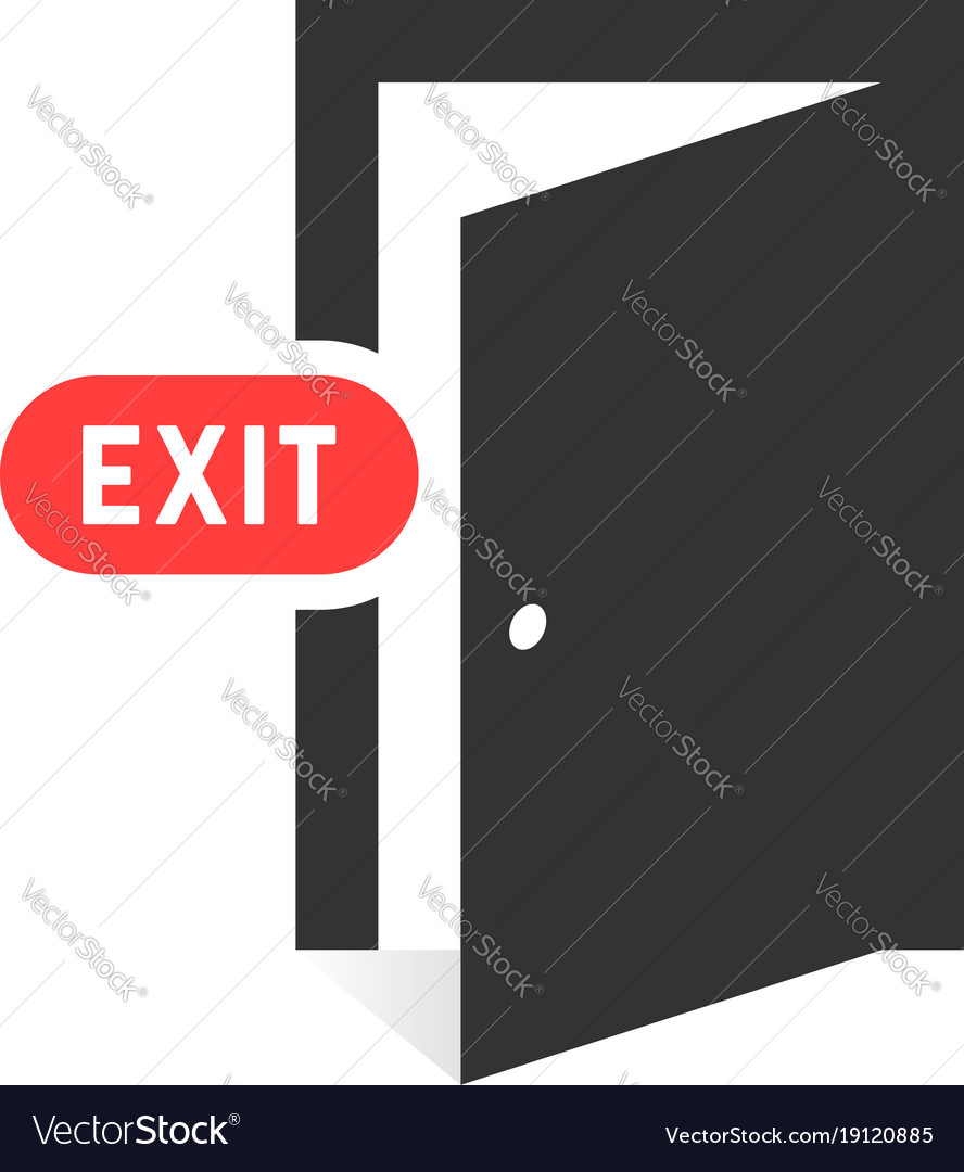 Simple black exit door icon on white background Vector Image 888x1080