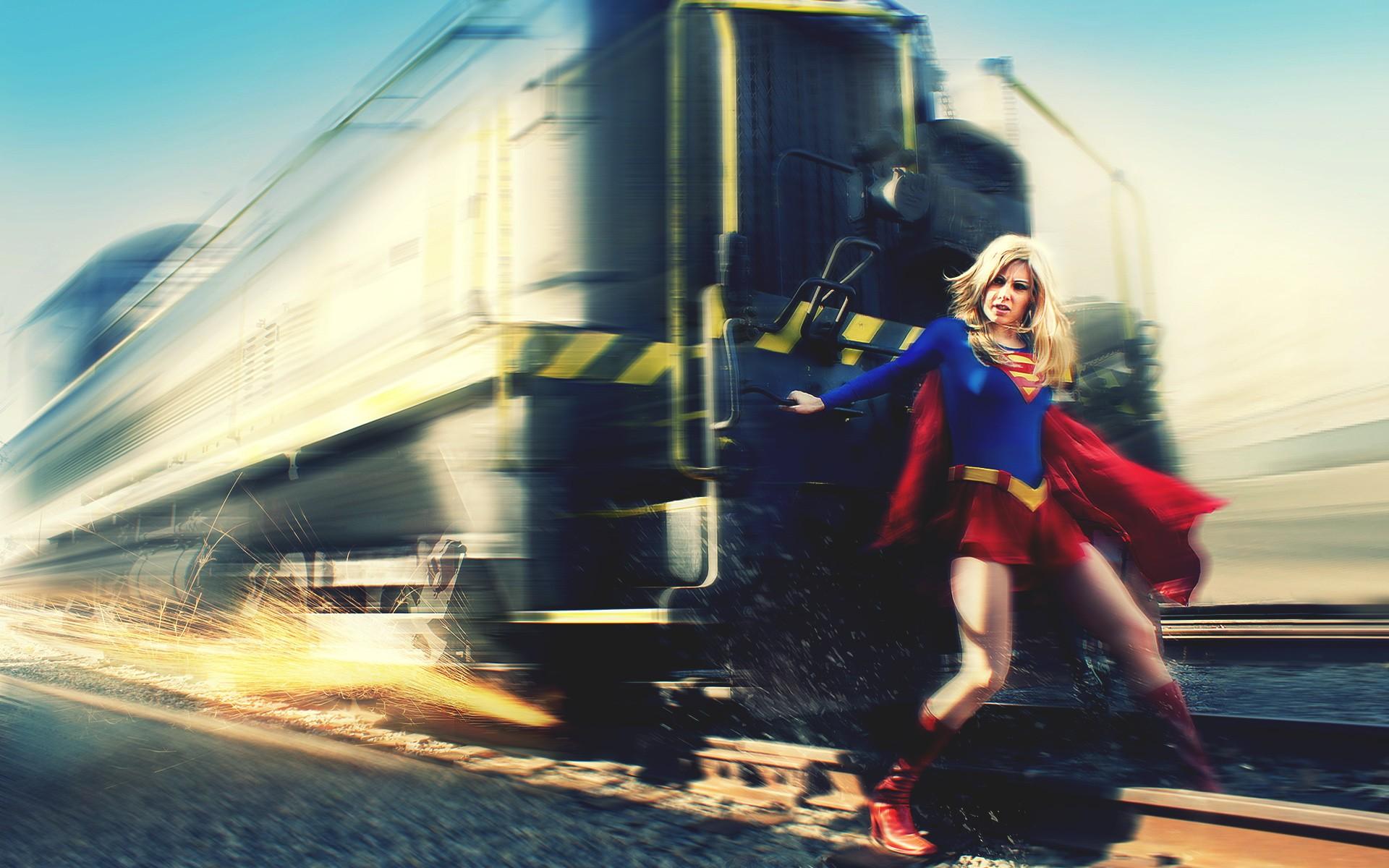 Supergirl DC Train Blonde Cosplay superhero wallpaper 1920x1200 1920x1200