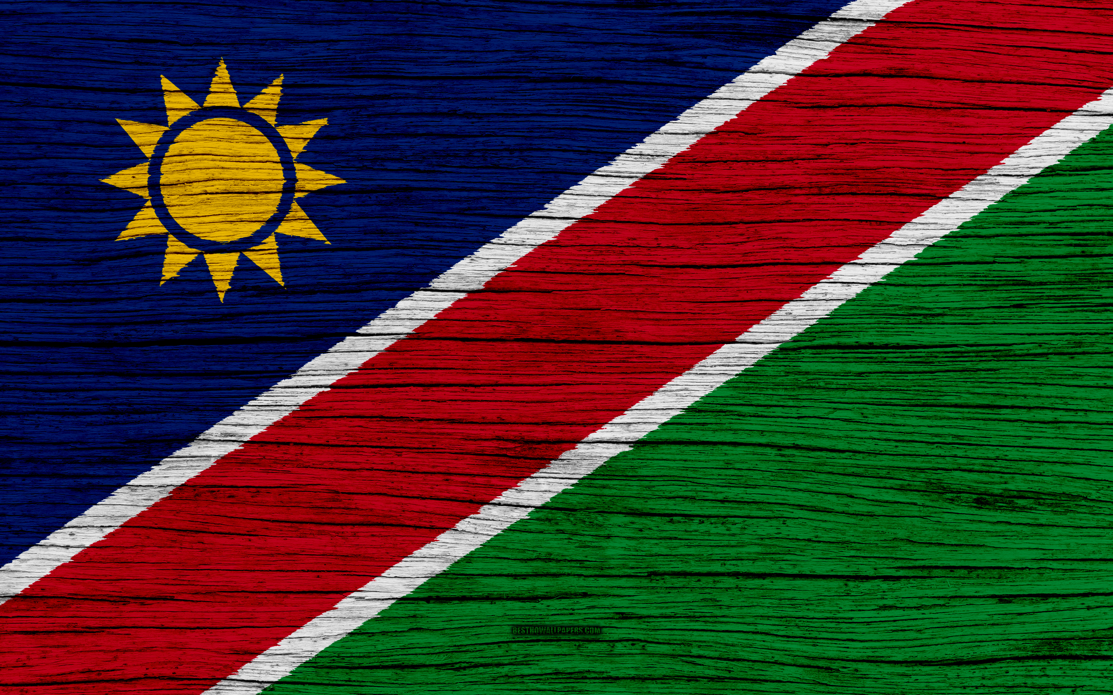 Download wallpapers Flag of Namibia 4k Africa wooden texture 3840x2400
