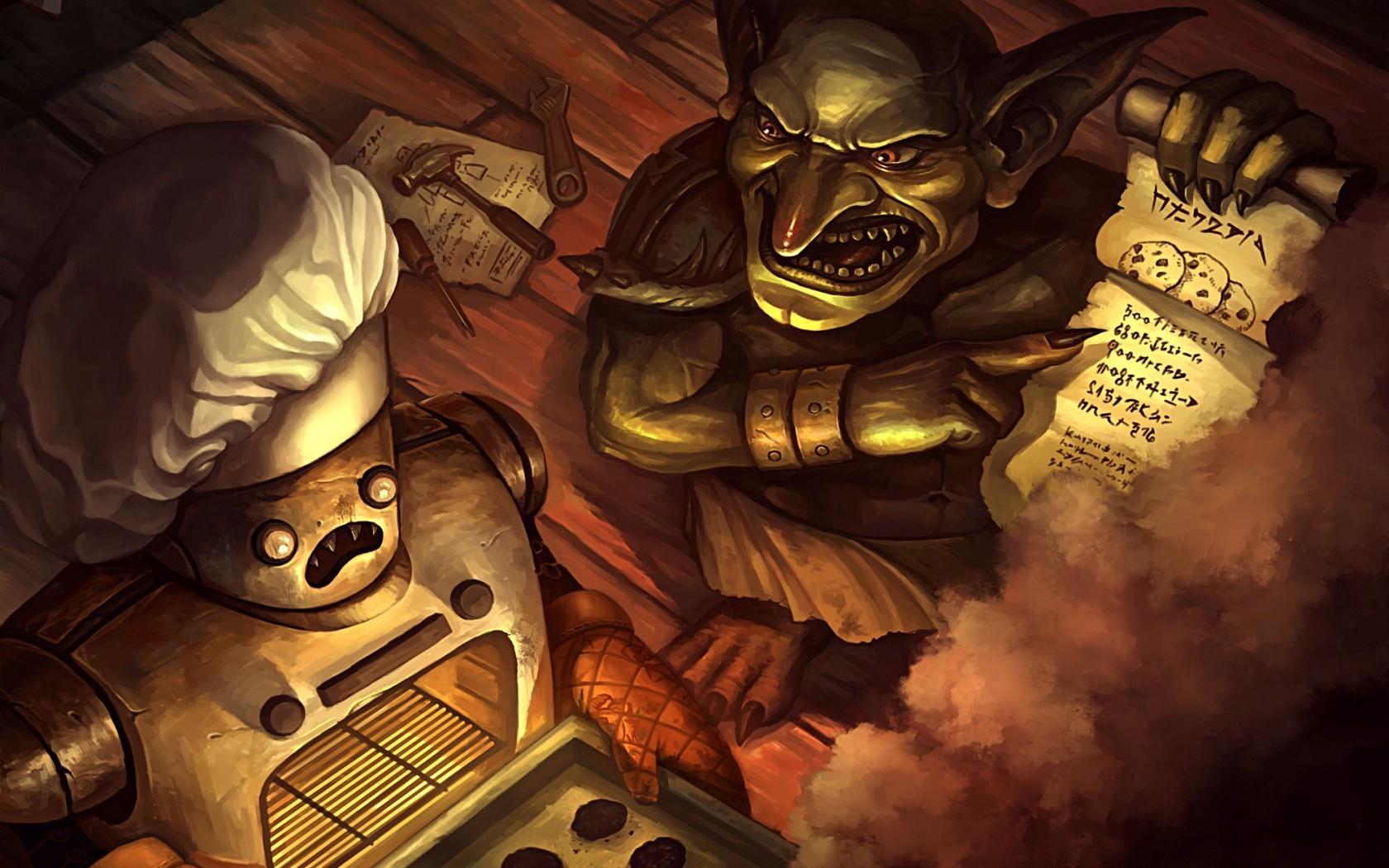Hearthstone Goblin Robot Cook Smoke Recipe Art   Stock Photos 1680x1050