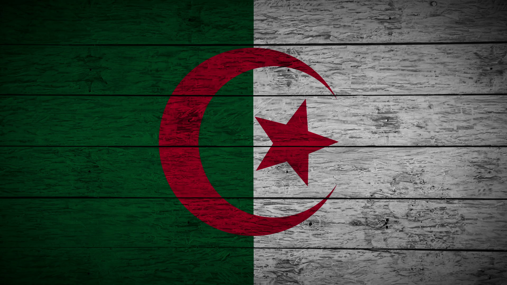 Painting Flag of Algeria on old wood boards With four different 1920x1080