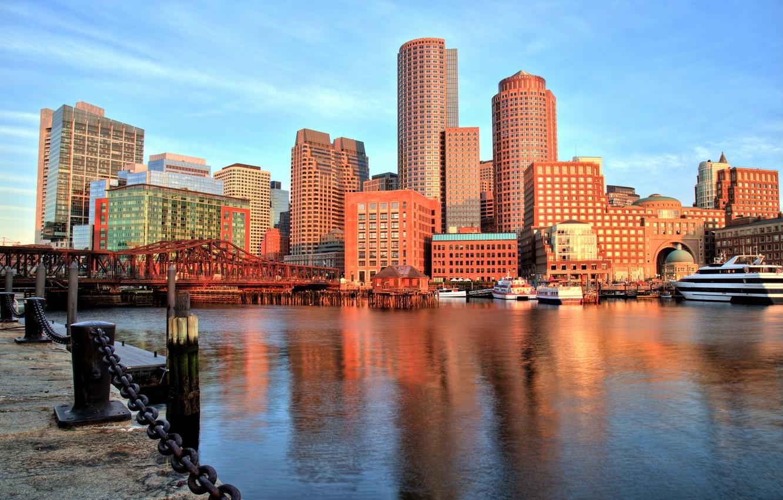 Wallpaper bridge building Bay port promenade Boston Boston 1332x850