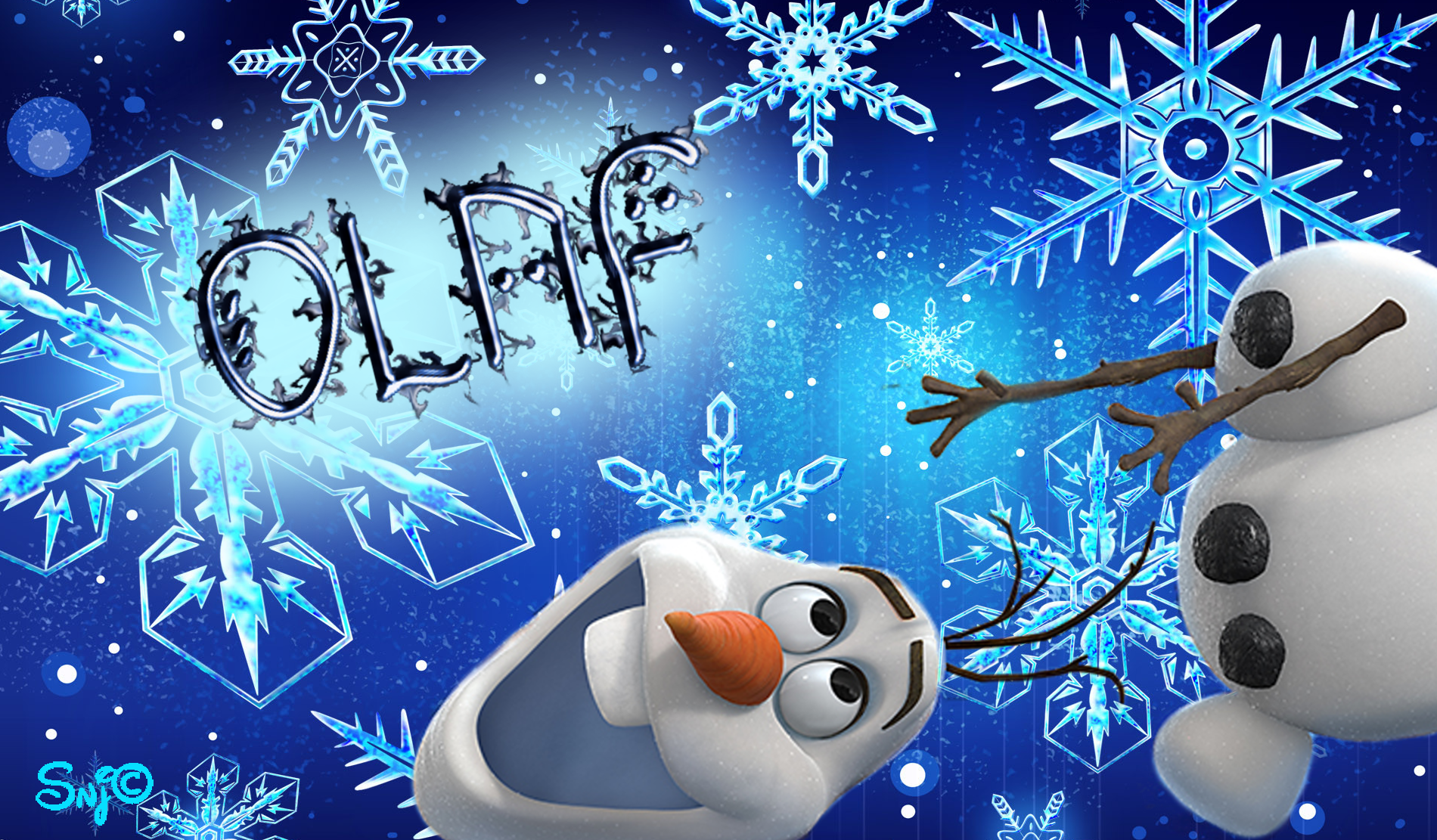 Olaf Attack Wallpaper by Snappette Smurfette 1900x1111
