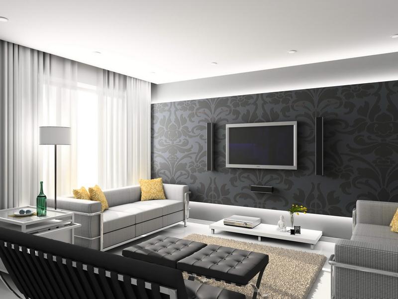 Room design modern living room designs with grey decorative wallpaper 800x600