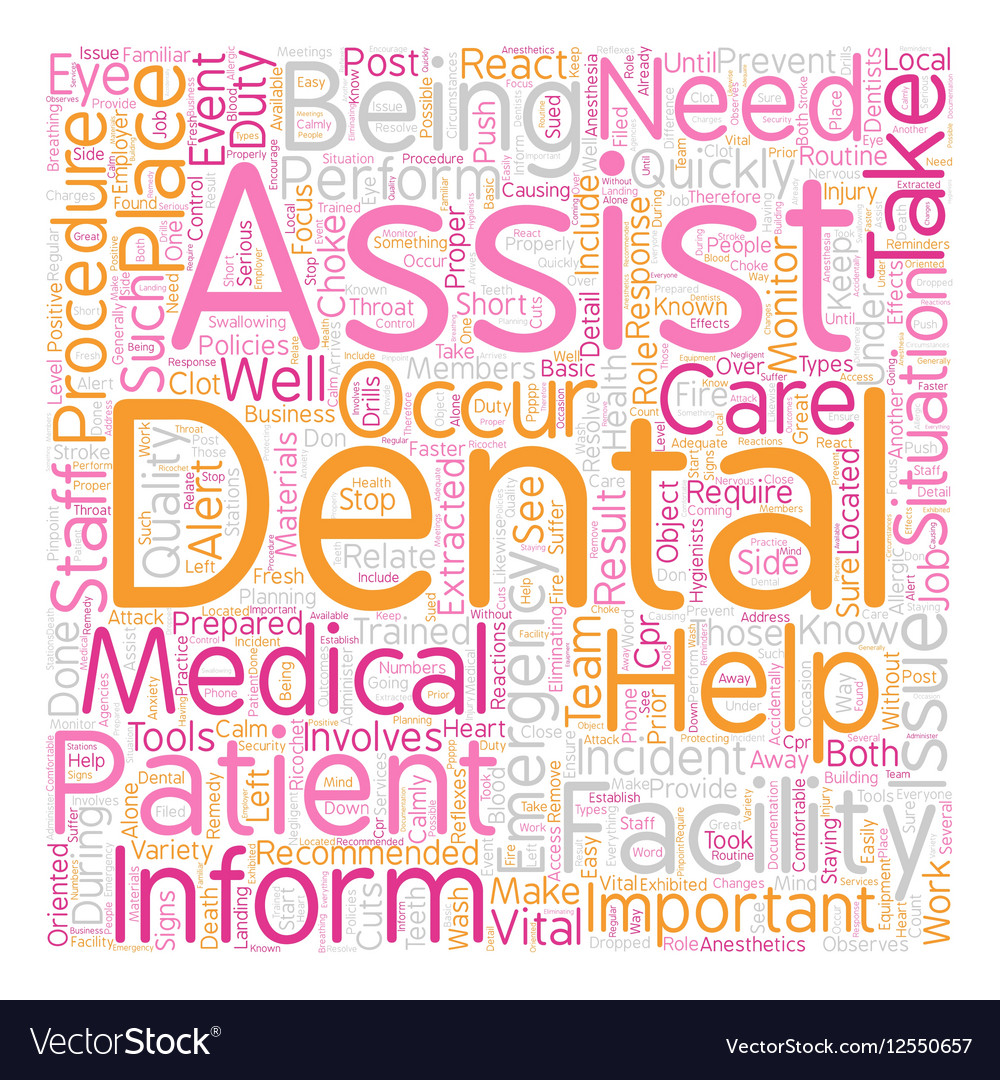 Dental Assistant Emergency Care text background Vector Image 1000x1080