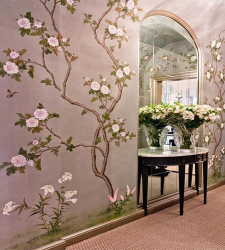 hand painted wallpaper chinoiserie wallpaper silk wallpaper 450x500