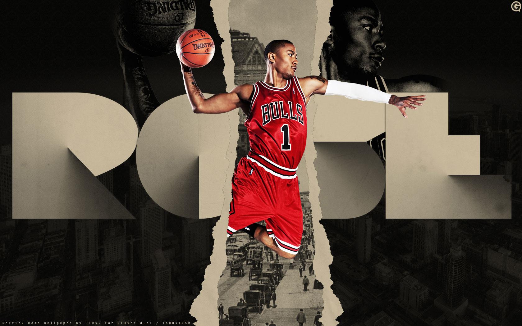 Derrick Rose Bulls Number 1 Widescreen Wallpaper   Basketball 1680x1050