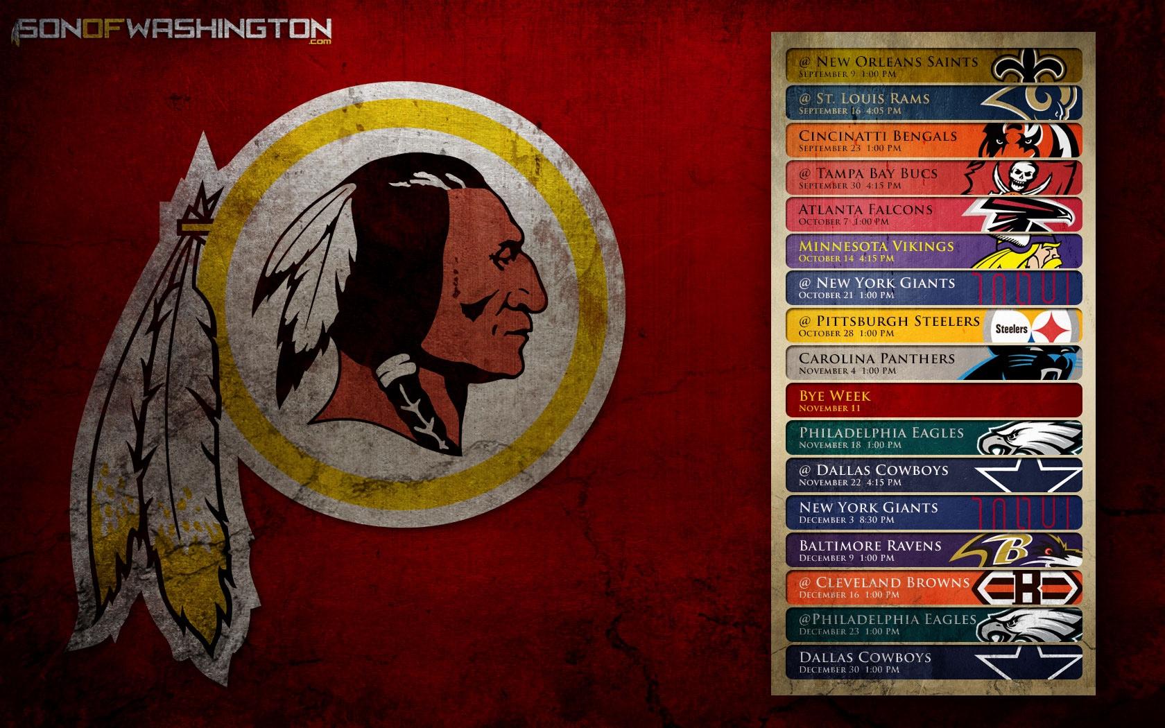 Washington Redskins Schedule NFL CBSSportscom 1680x1050