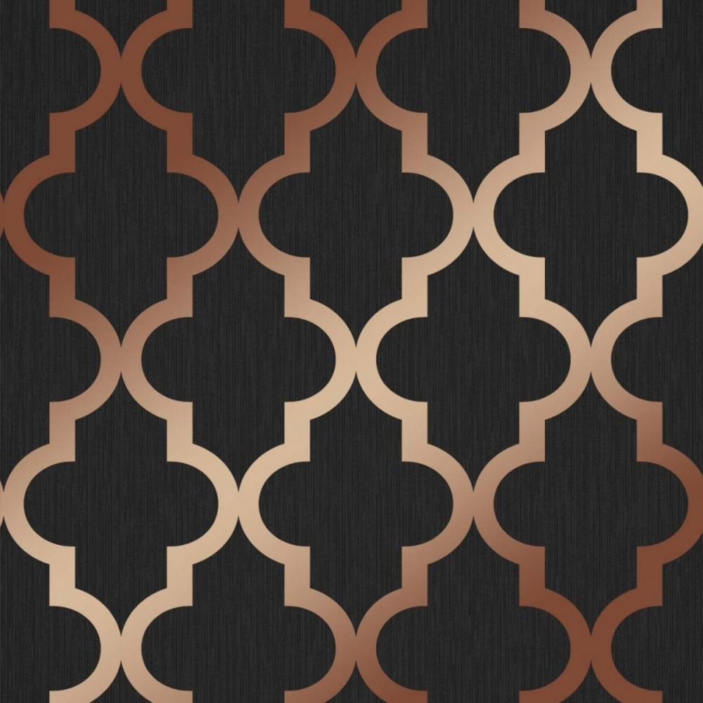 Henderson Interiors Camden Trellis Wallpaper Charcoal Copper 1000x1000