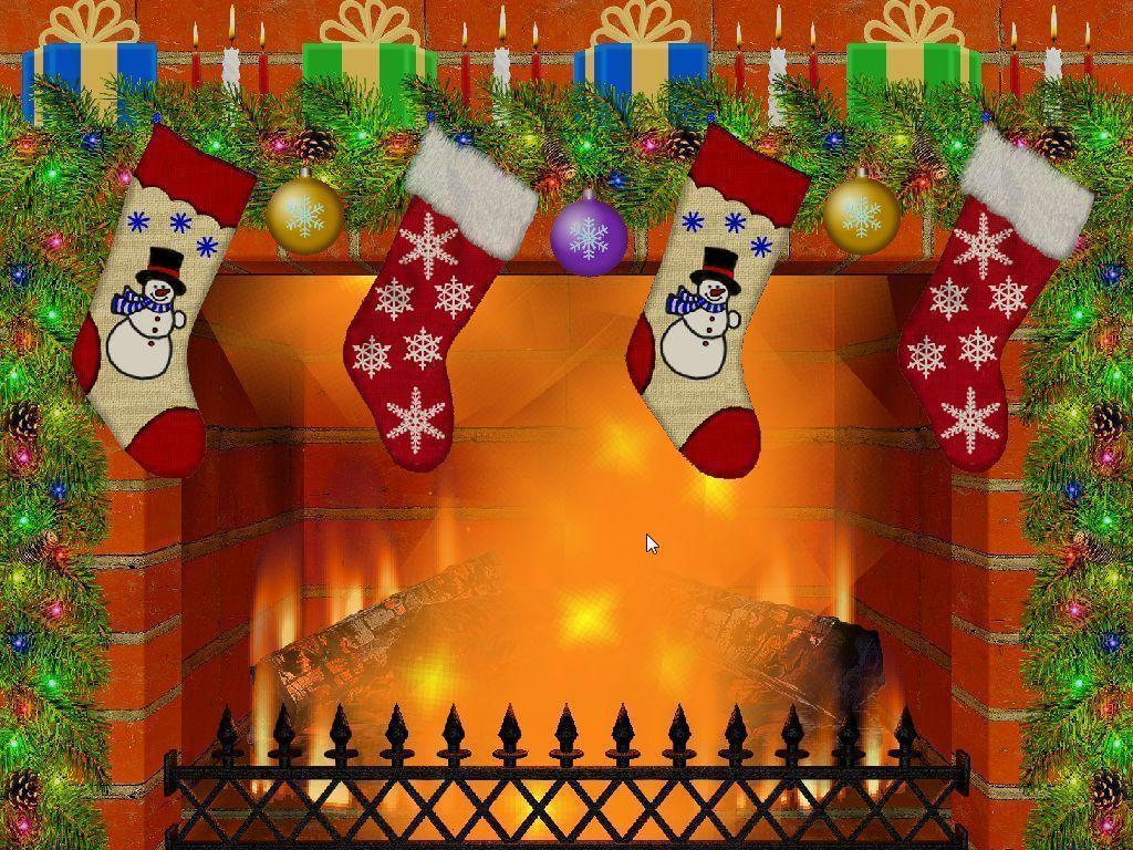 Christmas Fireplace Wallpapers 1024x768